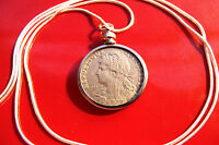 """French Minted 1903-1905 Lady Liberty Pendant on a 30"""" 925 Silver Snake Chain"""