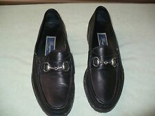 ss BRAGANO ITALIAN MADE BLACK PEBBLED LEATHER LOAFERS MENS 7 M