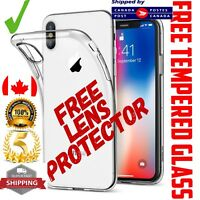 For iPhone XR Case GEL Clear Plus Tempered Glass Screen Lens Protector