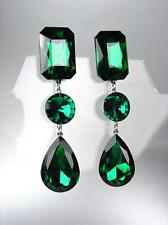GLITZY Emerald Green Czech Crystals LONG Bridal Queen Pageant Prom CLIP Earrings