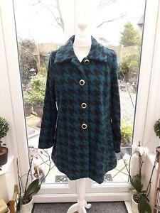 Bob Mackie Wearable Art Houndstooth Fleece Jacket Coat Black/Teal Medium BNWT