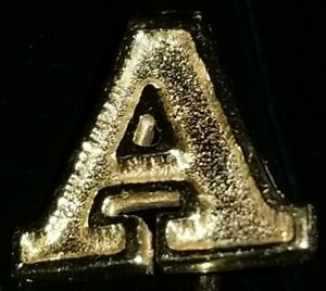 VTG 14K SOLID YELLOW GOLD LETTER A STICK PIN BROOCH RARE!