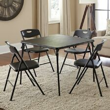 Table And Chair Set Black Folding Dinner Party Card Poker Bridge Metal Chairs