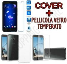 CUSTODIA COVER TPU GEL per HTC U11 + PELLICOLA in VETRO TEMPERATO