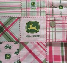 1/2 yd ~ Pink Patchwork  design John Deere Cotton Fabric ~ Quilt  doll