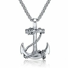 """22"""" Mens Stainless Steel 3mm Box Link Chain Voyage Anchor Necklace + Box #N47"""
