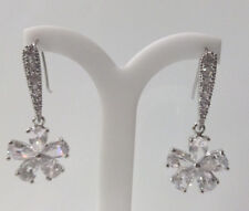 Formal/Bridal Clear Crystal Flower Shaped Dangle Drop Earring