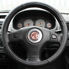 BLACK PU LEATHER LOOK UNIVERSAL CAR/VAN STEERING WHEEL COVER/GLOVE/PROTECTOR 38C