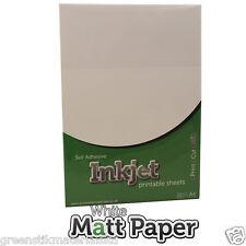 10 x A4 adhésif jet d'encre matt Autocollant Papier Blanc Art feuilles jet d'encre