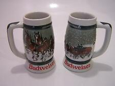 Budweiser Ceramic Beer Steins 50th Anniversary Clydesdales Mugs Set of 2