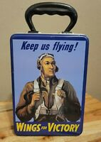 Vintage 2002 Lets Go Wings For Victory Keep Us Flying Tin Metal Lunch Box WWll