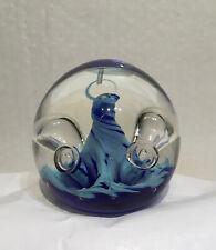 Caithness Scotland Glass Paperweight Blue Mini Moonflower 1999