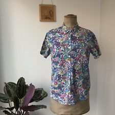ORVIS Women's Multicolored Floral Short Sleeve Button Down Blouse Shirt Uk 8 10