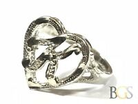"Vintage Ladies Sterling Silver ""K"" Heart Design Ring - Size 6.5 - Must See!"