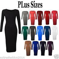 New Womens Ladies Summer Long Sleeve Stretch Plain Bodycon Midi Maxi Dress 8-24