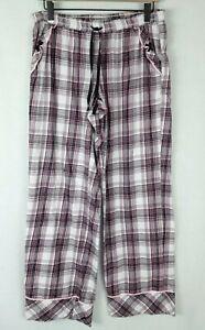 Victoria's Secret Plaid Flannel Pajama Sleep Pants W/Pockets Pink Black Size-M