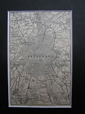 Antique map Brussels / carte Bruxelles / karte Brüssel 1897 / free passepartout