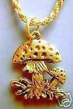 LOOK Gold Plated Celtic Mushroom HOPE PEACE charm Pendant