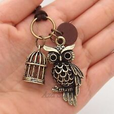 3D Night Owl Bird Cage Pendant Charms Necklace
