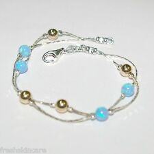 925 Chain Anklet Made to your size Opal & Gold Filled Beads Sterling Silver