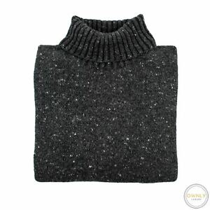Inis Meain Grey Wool Cashmere Flecked Ireland Piped Roll Turtleneck Sweater S