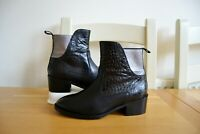 "BERTIE ""PRICE"" BLACK CONTRAST LEATHER CHELSEA ANKLE BOOTS UK 5 EU38 RRP £95"