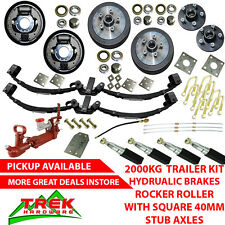 DIY 2000KG Rated Stub Tandem Trailer Kit, Rocker Roller, Hydraulic Brakes