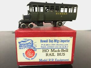 HO Brass Red Ball Mack Rail Bus Nice paint for New Haven