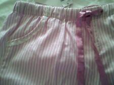 10 SATIN LOOK striped  BELOW KNEE  PYJAMAS cool cotton pink  white top  NWT $23