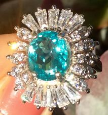 2.67ct Natural Earth Mined Apatite 14k White Gold plated Sterling Silver CZ Ring