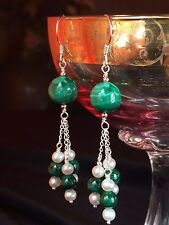 Natural GEMSTONE Green MALACHITE Pearl Sterling Silver Dangle Tassel Earrings