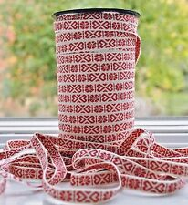 Swedish Folk Art Ribbon Red & White Hearts Scandinavian Hand Woven Per Yard