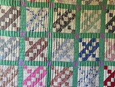 Antique Vintage Quilt Homemade Pretty 1930's 40's Feedsack Fabrics