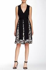 New Diane Von Furstenberg Malba Printed Trim Silk Wrap Sleeveless Dress 12