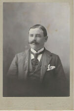 Vintage Photo Cabinet Card, Handsome w/ Mustache, Tie & Suit - By Edwin A. Webb