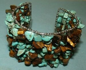 "Vintage Turquoise & Tiger Eye Cuff Bracelet; 7-71/2""; 1 5/8"" wide"