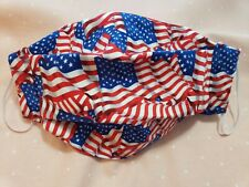 Face Mask, Handmade. Sewn in Filter, nose wire, filter pocket, washable USA Flag