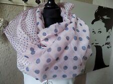 XXL Loop Scarf Trend Fashion Schal Tuch Scarf rose grau Punkte (A5)