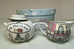 The English table la Patisserie Porcelain Creamer and Sugar Bowl Set  - New