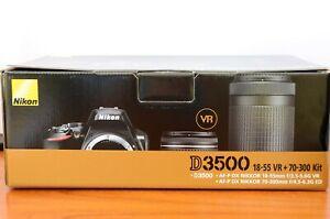 Nikon D3500 24.2 MP Digital Camera Bundle - Black (Kit 18-55mm & 70-300mm) USA