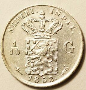 INDES NEERLANDAISES (Indonésie) : 1/10e GULDEN ARGENT 1858