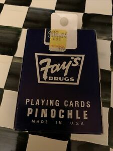 VINTAGE FAY'S DRUGS LIVERPOOL NY UNOPENED BLUE DECK OF PINOCHLE PLAYING CARDS