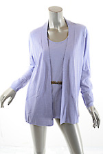 RANI ARABELLA  Wool Cashmere Baby Blue Faux 2-Piece Tank Cardigan Sweater  Sz XL