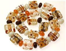 18 Handmade Lampwork Glass Pillow Beads Mix