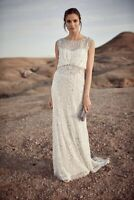 Phase Eight Hope Ivory Sequin Lace Trail Bridal Wedding Gown Dress UK 6 8 10