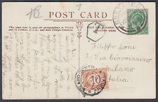 1914 Postage Due Postcard South Africa to Italy