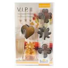 Birkmann VIP II Cookie Cutters Heart Starburst Clover Flower Biscuit Sits on Cup