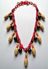 Vintage pieces bakelite beads mini wooden bowling pins plastic chain necklace