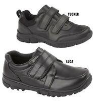 Boys School Shoes Kids Junior Children Touch Strap  Black Comfort Trainers Size