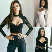 Womens Sexy Lace Slim Blouse Long Sleeve Shirt T-shirt Summer Tops Fashion New